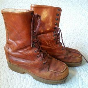 Vintage 1970s 7.5 Orange Brown Lace Leather Boots
